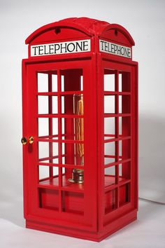 Red Telephone Booth Lamp by woodandroot on Etsy, $155.00