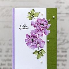 Altenew: Lacy Scrolls, stamp w/ distress, add shading (zigs or other. Diy Cards, Your Cards, Altenew Cards, Friendship Cards, Motif Floral, Card Making Inspiration, Penny Black, Watercolor Cards, Flower Watercolor