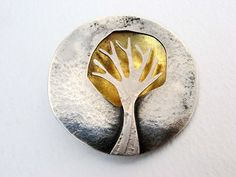 Becky Crow - gold dome tree brooch