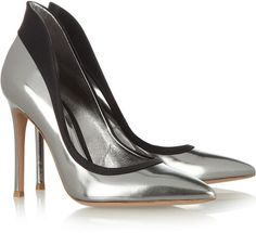 Satintrimmed Leather Pumps - Lyst