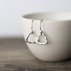 Mini Geometric Earrings - Hammered Sterling Silver Triangle Earrings by Burnish on Etsy, $23.00