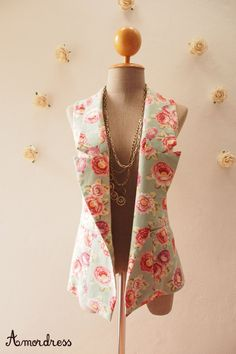 Women Vest Floral Blazer Pale Green with Rose Floral by Amordress