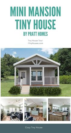 "Pratt Homes is a company that manufactures tiny houses as well as larger modular homes. Among their tiny houses is an abode that they have dubbed the ""Mini Mansion."" home The Mini Mansion is an Exquisite Tiny House Measuring Tiny House Company, Tiny House Listings, Modern Tiny House, Tiny House Design, Small House Living, Tiny House Movement, Small House Floor Plans, Tiny House Nation, House Ideas"