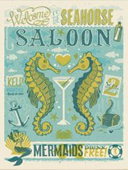 CC Seahorse Saloon - The Coastal Collection is breezy, casual, whimsical and nostalgic.  Inspired by vintage nautical travel posters, we've set out to create a  collection of designs that will transform any room into a little slice of  Paradise. This whimsical Seahorse Saloon showprint will make you smile every time you look at it!