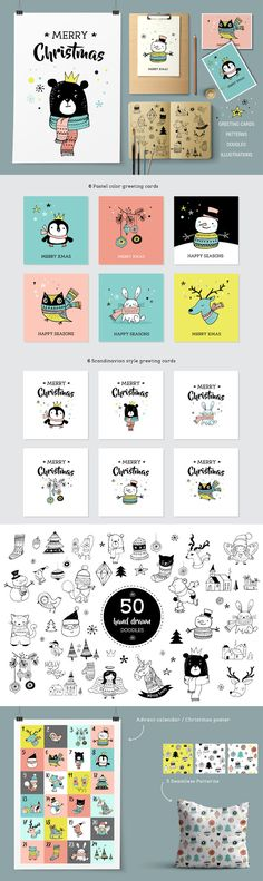 Merry Christmas greetings & doodles by Marish on Creative Market - Weihnachten Christmas Doodles, Merry Christmas Greetings, Christmas Art, Doodle Png, Up Book, Business Illustration, Christmas Illustration, Planner, Watercolor Cards