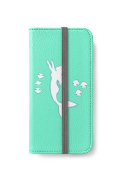 Mint and White Mermaid Silhouette Art iPhone wallet by Abigail Davidson at Redbubble