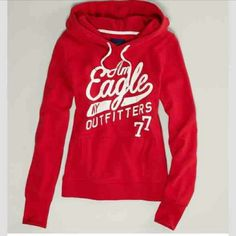 American Eagle Pull Over Hoodie Red, American Eagle hoodie, worn not very much just to small on me. Great condition American Eagle Outfitters Sweaters