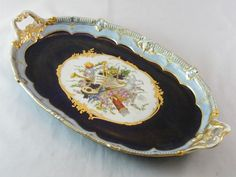 HAND PAINTED RUSSIAN PORCELAIN SERVING TRAY