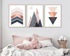 Set of 3 Printable Art Print Set Scandinavian Print Diy Wand, Bedroom Wall, Bedroom Decor, Dream Bedroom, Bedroom Ideas, Mur Diy, Copper And Pink, Geometric Wall Art, Diy Wall Art