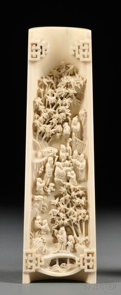 Ivory Wrist Rest, China, 19th century, top carved with a bundle of plantain leaves, underside carved and pierced with figures in a landscape, some drinking tea, others looking at the trees, wd. 2 3/4, lg. 9 7/8 in.