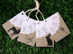 kraft, paper doily and small images.
