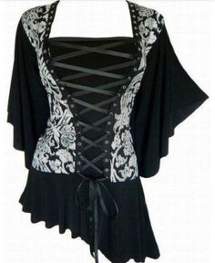 Gothic victorian butterfly sleeves corset plus top