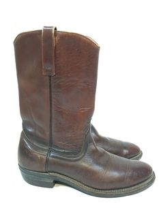 VINTAGE CLASSIC RED WING BROWN LEATHER WESTERN ENGINEER WORK BOOTS SIZE 10 B