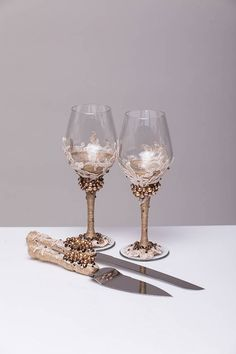 wedding wine glasses beige and brown set of 2 glasses