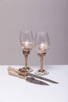 copas de boda beige y marrón conjunto de 2 gafas boda vinos