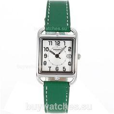 f758351e0e1 Replique Hermes Cape Cod avec bracelet en cuir cadran blanc-vert -  Attractive Hermes Cape