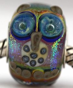 WISE OWLS fits Pandora and Trollbeads bracelets artisan murano glass charm bead. Cored with sterling silver. Made by glass artist Mandy Ramsdell