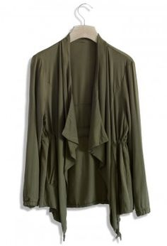 Olive Waterfall Coat - Retro, Indie and Unique Fashion