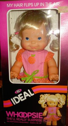 """My sister had this doll - it was so cute! VINTAGE 1980 IDEAL WHOOPSIE Baby Doll 14"""" Squeeze Tummy & Pigatils Move"""