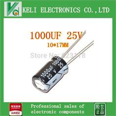 Free shipping 100 pcs 1000UF25V electrolytic capacitor 1000UF/25V 1000UF 25V 10x17mm