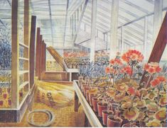 """""""Geraniums And Carnations In Greenhouse"""" by Eric Ravillious, 1935"""