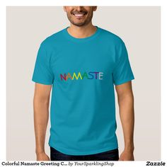 Colorful #Namaste Greeting Chakra Colors Teal T-Shirt