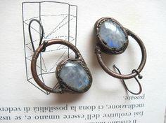Rainbow moonstone earrings in antiqued copper  blue flashing