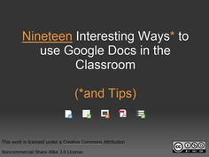 Google Docs for the classroom. Not sure I REALLY want to know!!