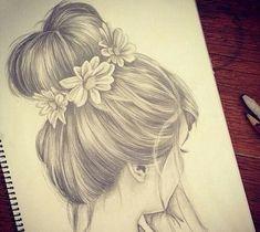 Imagem de hair, drawing, and flowers