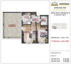 Apartamente de vanzare Mihai Bravu Residence 9 -2 camere tip B Floor Plans, Diagram, Floor Plan Drawing, House Floor Plans