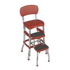 Shop Staples® for Cosco Counter Chair, Red. Use the Cosco red retro counter chair, which features smooth tracking steps and helps you to reach high areas or acts as a foot rest. Kitchen Step Stool, Kitchen Stools, Red Kitchen, Vintage Kitchen, Retro Vintage, Step Stools, Kitchen Ideas, Kitchen Decor, Vintage Stuff