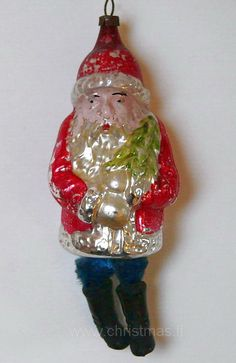 Antique Santa with chenille Legs Glass  Christmas Ornament
