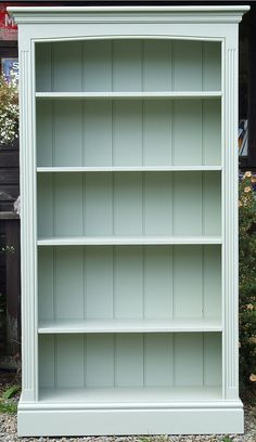 Furniture Painted Freestanding Bookcase with fluted side pilasters and arched top. Shown here painted in Farrow Ball Vert de Terre Diy Home Furniture, Paint Furniture, Repurposed Furniture, Furniture Projects, Furniture Makeover, Bedroom Furniture, Farrow Ball, Painting Bookcase, Painted Bookshelves