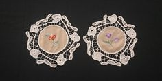 80s Romanian Point Lace Doilies Centerpieces, Set of 2, 2x24cm / 2x9.4in Crochet Table Runner, Shades Of Beige, Point Lace, Lace Doilies, Linen Tablecloth, Table Toppers, Lace Trim, Crochet Earrings, Centerpieces