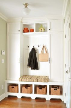 Entry Storage Design Ideas, Pictures, Remodel and Decor Entryway Storage, Storage Spaces, Porch Storage, Mudroom Laundry Room, Storage Design, Home Organization, Organizing, Decoration, House Design