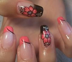 Flower Nail Designs, Pretty Nail Designs, Diy Nail Designs, 3d Nails, Cute Nails, Pretty Nails, Acrylic Nails, Manicure, Butterfly Nail Art