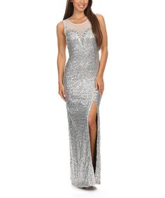 Look at this Spy Dresses Silver Glitter Maxi Dress on #zulily today!