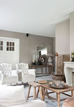 Neutral sitting room with rustic touches Gray Interior, Home Interior, Interior Design, Interior Doors, Home Living Room, Living Room Decor, Living Spaces, Decoration, Home Furniture
