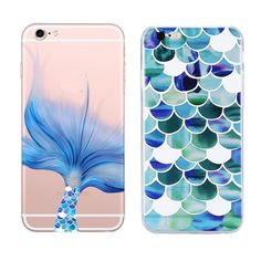 Mermaid Style Tpu Case For Iphone 7 7 Plus Case Transparent Soft Silicone Cover For Apple Iphone 6 6s 5 5s Se Cases back  Cell