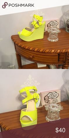 Shoes. Nwot Neon yellow wedges. With platform Shoes Wedges
