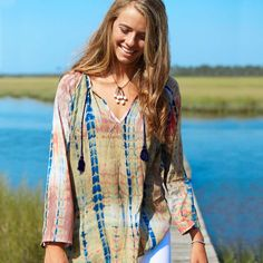 Tie Dye Tassel Tunic - This lightweight, 100% cotton, bracelet-length tunic…