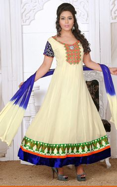 CREAM & BLUE GEORGETTE ANARKALI SALWAR KAMEEZ - DIF 29682