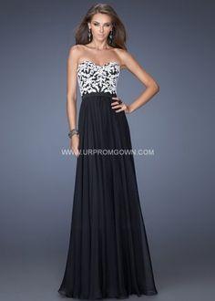 Black Long Strapless Prom Dress by La Femme 19878