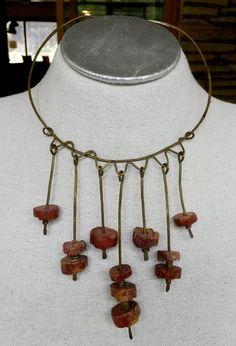 Vtg Brutalist Brown Soapstone Brass Bib Dangle Choker Ring Necklace Artisan Boho #NotSigned