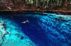 Running through the island of Mindanao in the Philippines, the Enchanted River, also known as Hinatuan River.