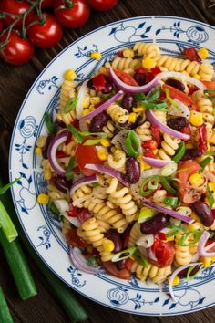Pasta salad with corn and kidney beans simple noodle salad - Cook the pasta according to the package instructions al dente and quench with cold water. Grilling Recipes, Veggie Recipes, Pasta Recipes, Salad Recipes, Dinner Recipes, Healthy Recipes, Noodle Salad, Pasta Salad, Bacon Meatball Recipe