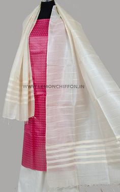 Exclusive dobby tussar silk kurta,teamed with a hand woven pure silk dupatta and cotton salwar.This suit consists of unstitched kurta, salwar and dupatt. Salwar Suits, Salwar Kameez, Kurti, Silk Suit, Cotton Suit, Tussar Silk Saree, Silk Dupatta, Classy Suits, Silk Fabric