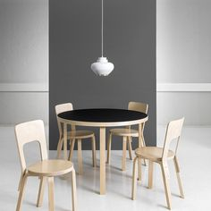 """""""Artek Table Chair 66 and Pendant Light Alvar Aalto. Alvar Aalto, A Table, Table And Chairs, Dining Chairs, Wood Chairs, Furniture Styles, Furniture Design, Wooden Chair Plans, Chair Design Wooden"""