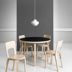 """Artek Table Chair 66 and Pendant Light Alvar Aalto. Alvar Aalto, Chair Design Wooden, Furniture Design, Wooden Chair Plans, Scandinavia Design, Modern Interior, Interior Design, Selling Furniture, Built In Bookcase"