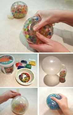 Learn how to make your own sensory stress balls using polymer beads and balloons. Kids can have so much fun with this activity and experiment with different colors! #Stress